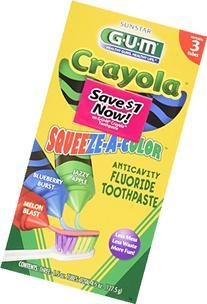 G-U-M Crayola Squeeze-A-Color Toothpaste, Melon Blast,