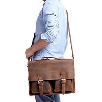 Kattee Full Grain Leather Vintage Briefcase Messenger Bag