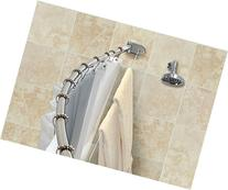 Crescent Curved Shower Rod With Integrated Clothesline