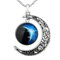 Tricess Women's Crescent Moon Galactic Universe Cabochon