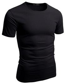Doublju Mens Crew Neck T-shirts Short Sleeve BLACK