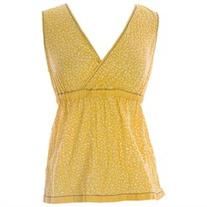BODEN Women's Crinkle Holiday Top US Sz 4 Yellow/White