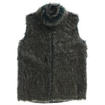 89th & Madison Womens Crochet Faux Fur Vest