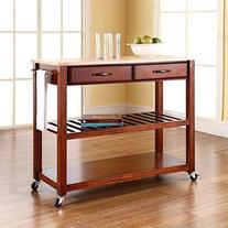 Crosley Furniture Natural Wood Top Kitchen Cart with