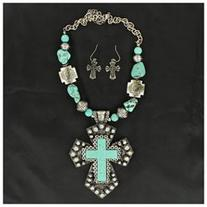 Blazin Roxx Large Cross & Stone Jewlery Set Turquoise