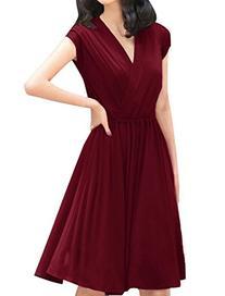 Allegra K Women's Crossover Deep V-Neck Dress, Black, Small
