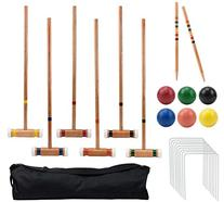 Six-Player Deluxe Croquet Set with Wooden Mallets, Colored