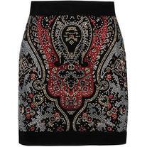 Balmain Crystal-embellished cotton-blend velvet mini skirt