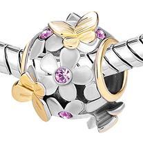 Pugster Light Purple Crystal Flower Butterfly Charm Bead
