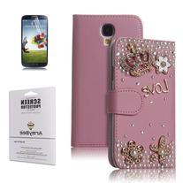 ArmyBee Crystal Love Crown Leather Flip Wallet Case Cover