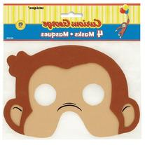 Curious George Foam Party Masks, 4ct