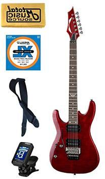 Dean Custom 350 Electric Guitar, Floyd Rose Trans Red FREE