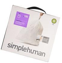 simplehuman Code G Custom Fit Liners, Drawstring Trash Bags