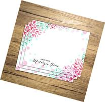 Custom Notecards, Personalized Flat Cards Set Of 15, Floral