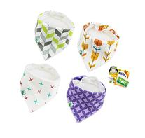 Cute Baby Bandana Bibs, Unisex 4 Pack Bib with Snaps - Best