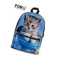 FOR U DESIGNS Cute Blue Cat Print Canvas Kindergarten