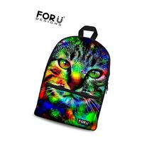 FOR U DESIGNS Cute Camo Cat Canvas Backpack Animal Style