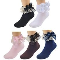 Deer Mum Girls Cute Princess Style Lace Top Dress Socks