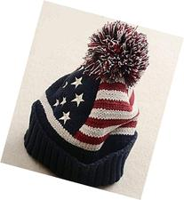 Cute Fashion Winter Hat Women USA American Flag Wool Winter