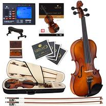 Cecilio CVN-300 Ebony Fitted Solid Wood Violin with Tuner