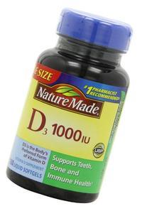 Nature Made D3 1000IU Vitamin D Supplement Liquid Softgels