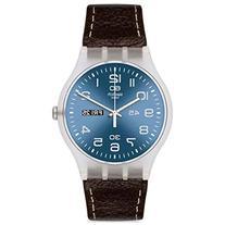 Swatch Daily Friend Blue Dial Plastic Brown Leather Quartz