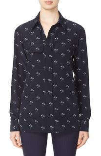 Women's Victoria Beckham Daisy Print Silk Shirt, Size 4 US
