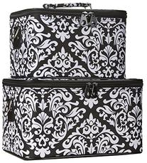 Ever Moda Black Damask Cosmetic Makeup Train Case