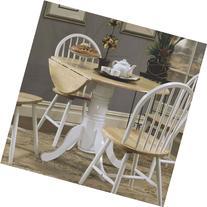 Coaster Damen Round Pedestal Drop Leaf Dining Table in