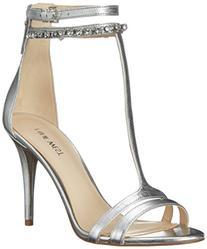 Nine West Women's Dana Metallic Heeled Sandal, Silver, 12 M