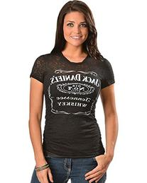 Jack Daniels Women's Daniel's Burnout Short Sleeve Tee Black