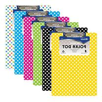 6 Pk, BAZIC Standard Size Polka Dot Paperboard Clipboard w/