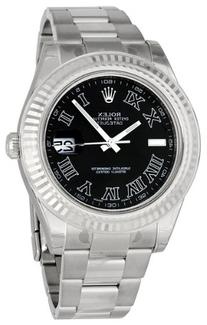 Rolex Datejust II Black Dial Stainless Steel Mens Watch