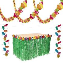 Luau Party Decorations - Lei Garland, Grass Table Skirt, 144