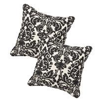 Pillow Perfect Decorative Black/Beige Damask Toss Pillows,