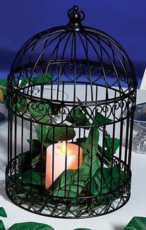 Decorative Black Bird Cage Centerpiece