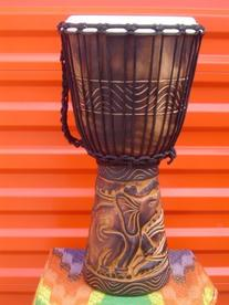 "20"" X 10-11"" Deep Carved Djembe Bongo Drum Elephants with"