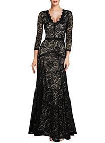 Miusol Women's Floral Lace 2/3 Sleeves Long Bridesmaid Maxi