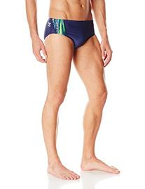 Speedo Men's Deep Within Brief Swimsuit, Blue/Green, 32