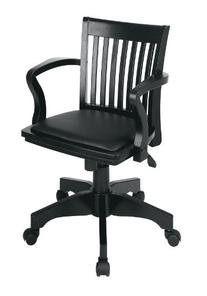 Deluxe Bankers Chair with Vinyl Padded Seat Black/Black