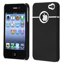 DELUXE BLACK CASE COVER W/CHROME FOR IPHONE 4 4G 4S AT&T