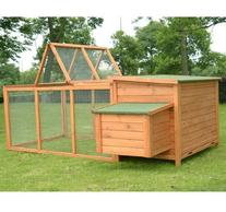Pawhut Deluxe Wooden Chicken Coop with Backyard Outdoor Run