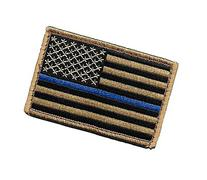 Desert/Coyote US Flag Thin Blue Line Patch for Police and