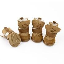 Detachable Closure Puppy Dog Shoes Booties Boots Brown 2
