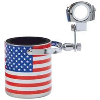 Diamond Plate Stainless Steel USA Flag Motorcycle Cup Holder