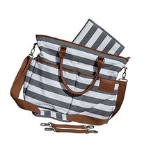 Diaper Bag for Stylish Moms, Grey/White, Premium Cotton