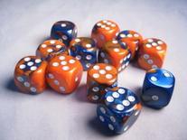 Chessex Dice d6 Sets: Gemini Blue & Orange with White - 16mm