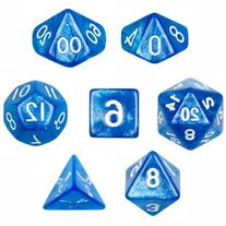 Wiz Dice 7 Die Polyhedral Blue Sparkle Horizon Dice Set with