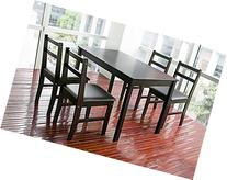 Merax 5pc Dinning Set Table with 4 Chairs, Soild Wood Dark