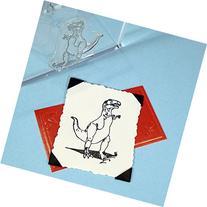 "Dinosaur Tyranosaurus Rex Stamp, clear polymer cling 2.25""x1"